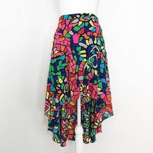 Neon Bright Abstract High Low Skirt Small